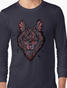 Clasic Wolf Color Paint Long Sleeve T-Shirt