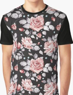 Stylish Vintage Pink Floral Pattern Graphic T-Shirt