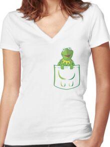 Kermit Pocket - muppet show Women's Fitted V-Neck T-Shirt