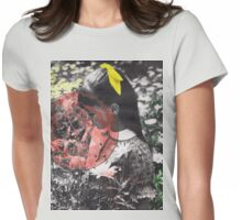 Girl with Flowers, Vintage Collage Womens Fitted T-Shirt