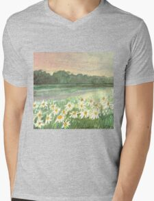 SUNSET OVER DAISY-MEADOW - A Dream of Peace may fill your Heart Mens V-Neck T-Shirt