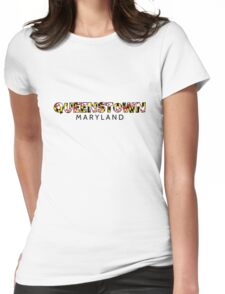 Queenstown Maryland flag word art Womens Fitted T-Shirt
