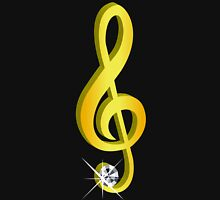 Gold Icon of a Musical Note G-Clef Women's Fitted V-Neck T-Shirt