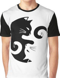 Yin Yang Cats Graphic T-Shirt