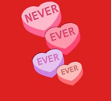 ANTI VALENTINE NEVER EVER EVER Candy Hearts Women's Fitted V-Neck T-Shirt