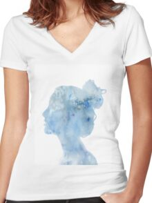 Blue Watercolor Silhouette Women's Fitted V-Neck T-Shirt