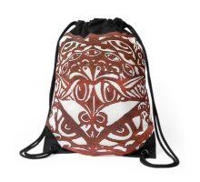 Watchers an Eyes Tangle Lino Cut Dark Red Monoprint Drawstring Bag