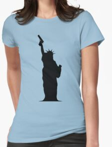 Lady Liberty with Gun Womens Fitted T-Shirt