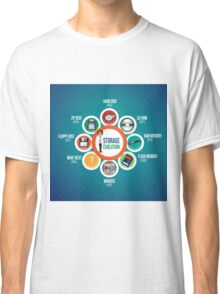 Infographic Storage Evolution cd rom zip disk ram memory floppy disc minidisc  Classic T-Shirt