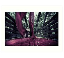 Yoga Posses with Aerial Silks on a Bridge Art Print