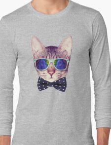 Hipster Cat with Glasses and Bow Tie Sticker T-Shirt