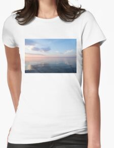 Silky Satin on the Lake - Blue and Pink Serenity  Womens Fitted T-Shirt