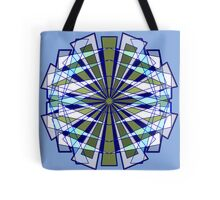 Abstract Triangle Starburst in Blue and Green Tote Bag