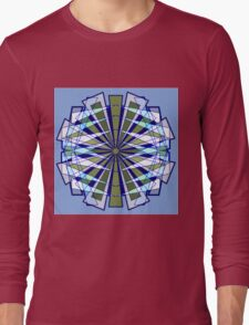 Abstract Triangle Starburst in Blue and Green Long Sleeve T-Shirt