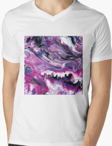 Pink and Purple Swirled Marble Mens V-Neck T-Shirt