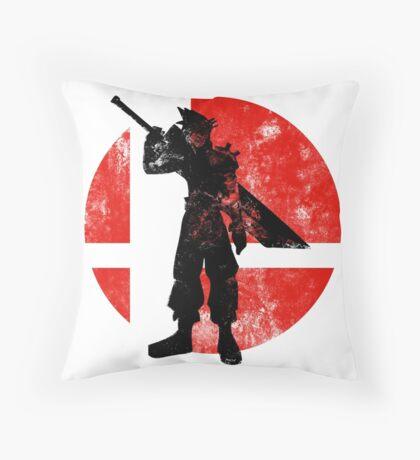 Cloud Strife Smash - Red Throw Pillow