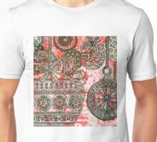 Xmas Baubles 10 -  Gelli Plate Print and Ink Unisex T-Shirt
