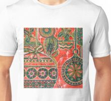 Xmas Baubles 9 -  Gelli Plate Print and Ink Unisex T-Shirt