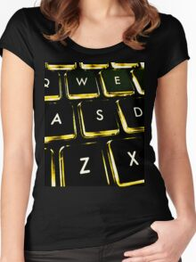 WASD Black and Gold Women's Fitted Scoop T-Shirt
