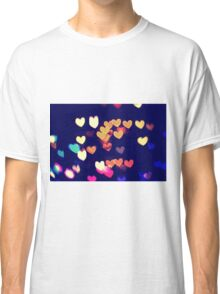 Colorful Hearts Bokeh Vintage Blue Yellow Orange I Classic T-Shirt