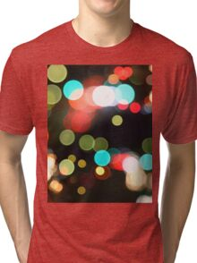 Abstract Colorful Round Bokeh Lights Tri-blend T-Shirt