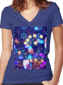 Colorful Psychedelic Bokeh Lights Shapes Amusement Park Tokyo Women's Fitted V-Neck T-Shirt
