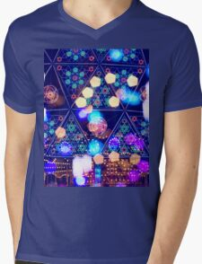 Colorful Psychedelic Bokeh Lights Shapes Amusement Park Tokyo Mens V-Neck T-Shirt