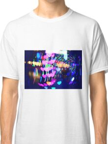 Couple In Colorful Light Tunnel Hearts Triangles Tokyo Classic T-Shirt