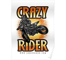 Crazy Rider dirt bike skull rider kickout Poster