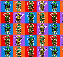 TMNT - Ninja Turtle Checkers Pixel Pattern by geekmythology