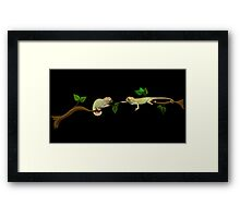 Wanna Be Friends? - Baby Panther Chameleons Framed Print