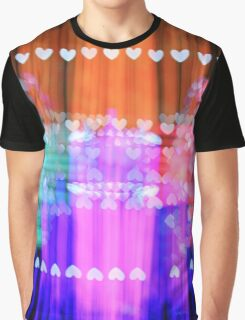 Speeding Hearts Abstract Colorful Light Trails Graphic T-Shirt