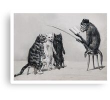 Three Cats and a Monkey Professor - Victorian Anthropomorphic Art Canvas Print