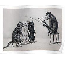 Three Cats and a Monkey Professor - Victorian Anthropomorphic Art Poster