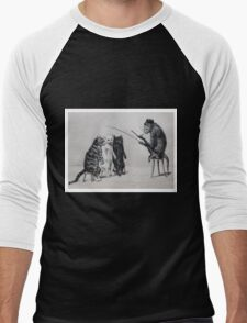 Three Cats and a Monkey Professor - Victorian Anthropomorphic Art Men's Baseball ¾ T-Shirt