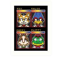 Star Fox Comm Faces - Pixel Art Art Print