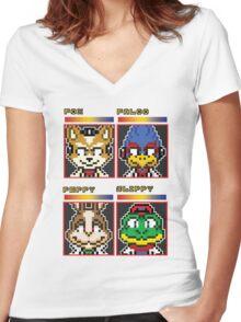 Star Fox Comm Faces - Pixel Art Women's Fitted V-Neck T-Shirt