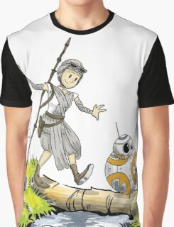Star Wars The Force Awakens / Calvin and Hobbes- BB-8 and Rey Graphic T-Shirt