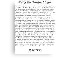 Buffy the Vampire Slayer: Episodes Metal Print