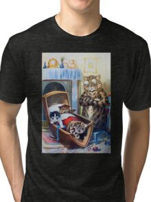 Louis Wain - Kittens Rocking The Crib Tri-blend T-Shirt