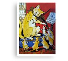 Cat Plays Violin for Dancing Rats - Victorian-era Anthropomorphic Art Canvas Print