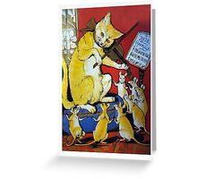Cat Plays Violin for Dancing Rats - Victorian-era Anthropomorphic Art Greeting Card