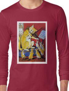 Cat Plays Violin for Dancing Rats - Victorian-era Anthropomorphic Art Long Sleeve T-Shirt