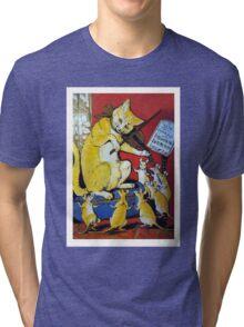 Cat Plays Violin for Dancing Rats - Victorian-era Anthropomorphic Art Tri-blend T-Shirt