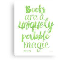 Green apple - Books are a uniquely portable magic Canvas Print