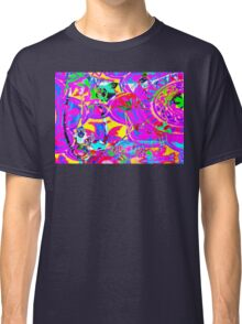 Psychedelic Flamingo Wedding by Lollypop Arts Classic T-Shirt
