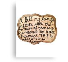 Sylvia Plath Happy Tree Ring Quote Canvas Print