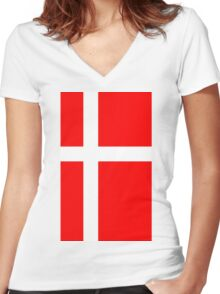 Denmark Flag Women's Fitted V-Neck T-Shirt
