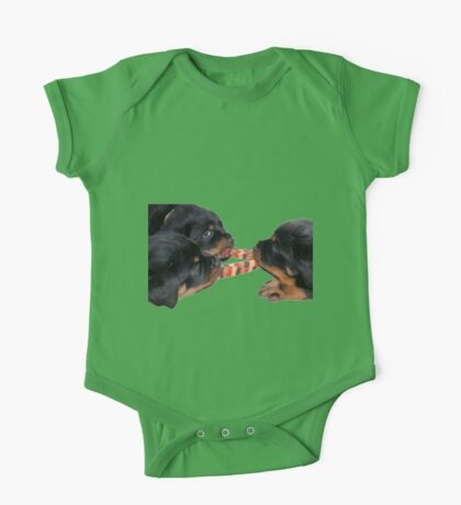 Loving and Sharing Rottweiler Puppies One Piece - Short Sleeve