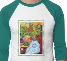 White Cat Lounging in Study by Louis Wain Men's Baseball ¾ T-Shirt